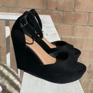 Torrid Black Platform Wedge Heels